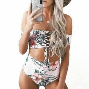 Other - Lace up high waist bikini two piece swimsuit-WHITE